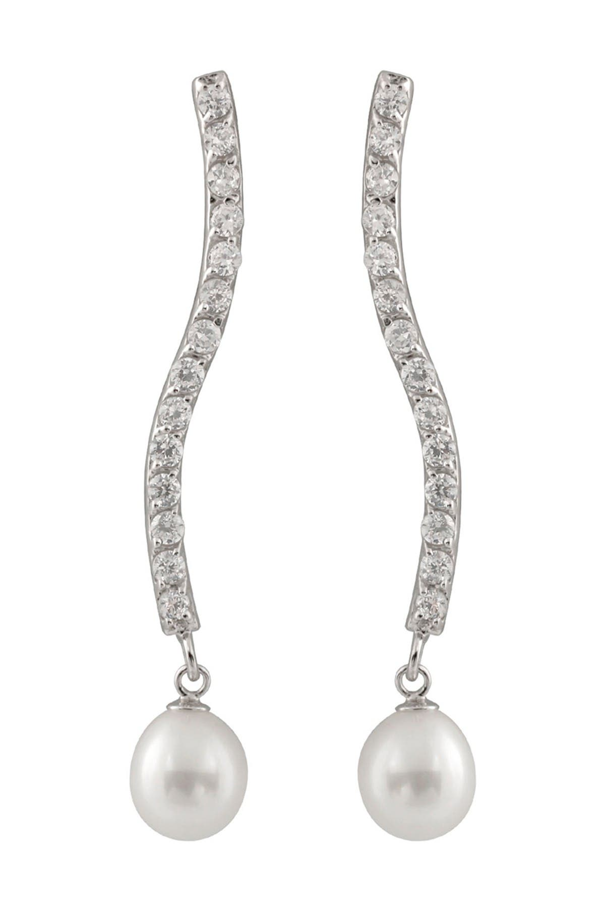 Image of Splendid Pearls 8-8.5mm Cultured Freshwater Pearl CZ Curved Bar Earrings