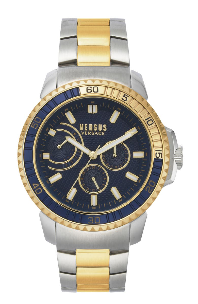 VERSUS VERSACE Aberdeen Bracelet Watch, 45mm, Main, color, SILVER/ BLUE/ GOLD