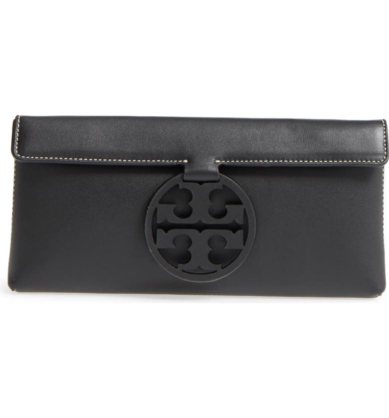 TORY BURCH Miller Leather Clutch, Main, color, 001