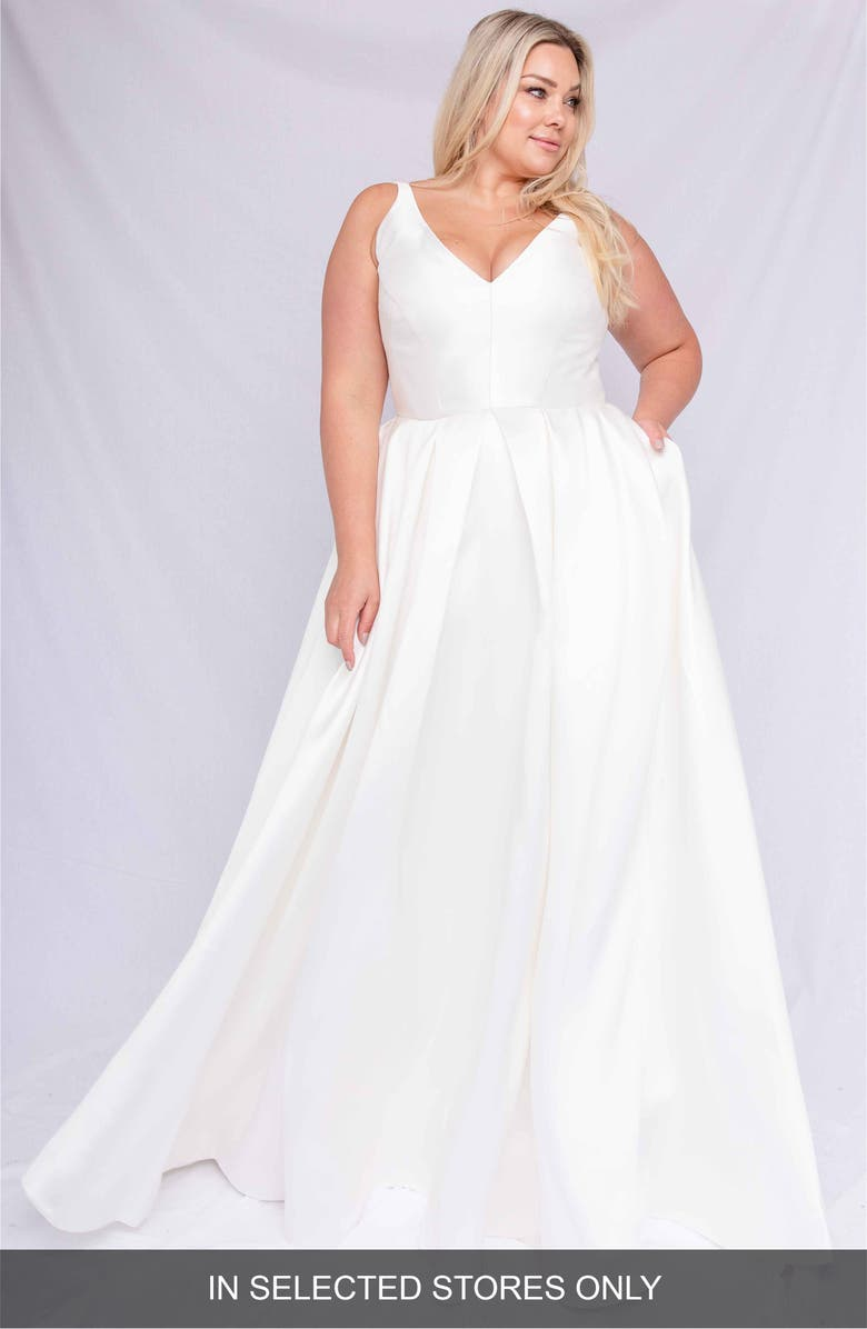 CHOSEN BY ONE DAY Remy Mikado A-Line Wedding Dress, Main, color, WHITE
