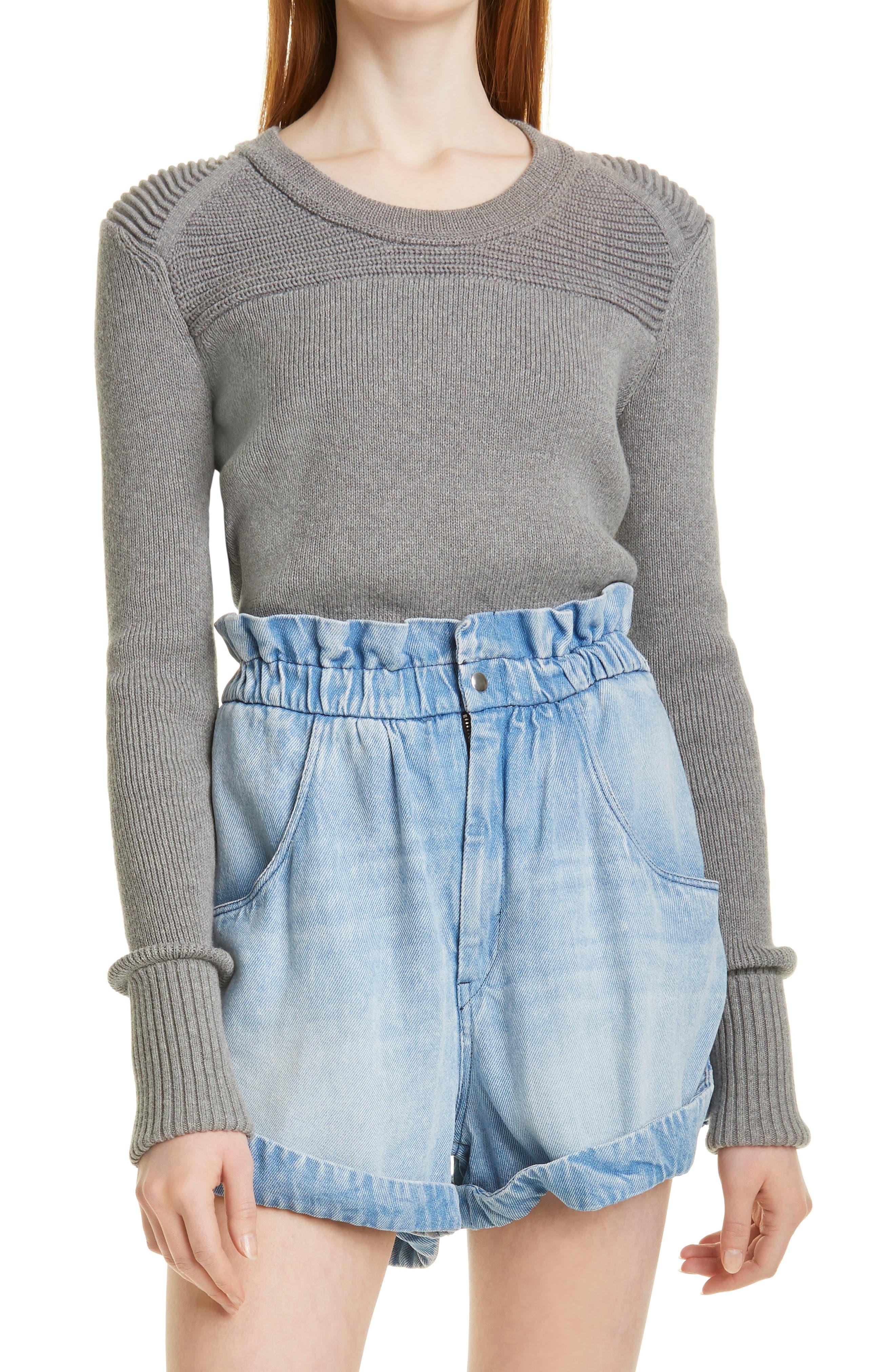 Women's Isabel Marant Etoile Tycia Mix Stitch Cotton & Wool Blend Sweater