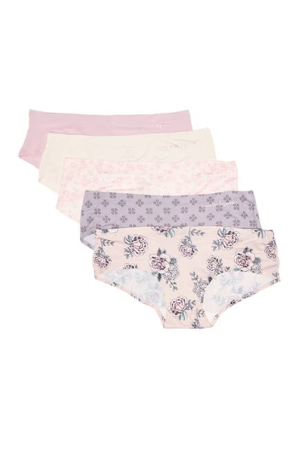 Image of Nanette Lepore Tagless Floral Print Hipster Panties - Pack of 5