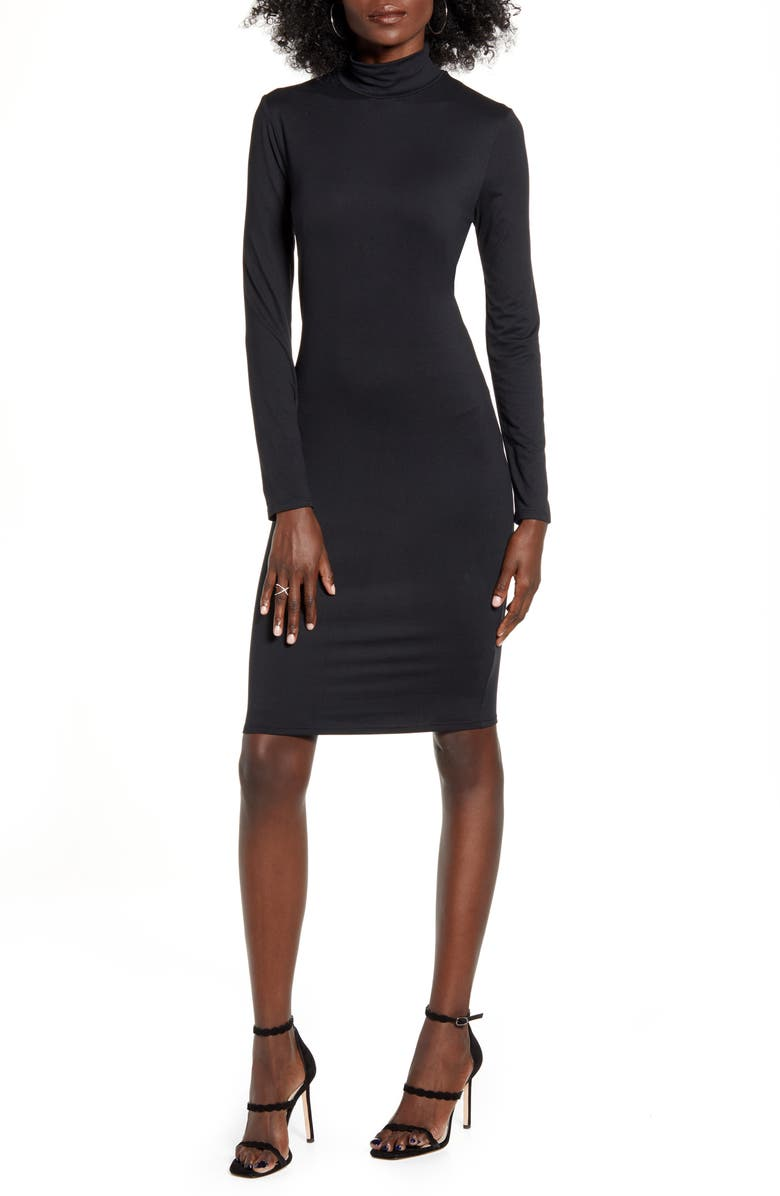 LEITH Long Sleeve Body-Con Dress, Main, color, BLACK