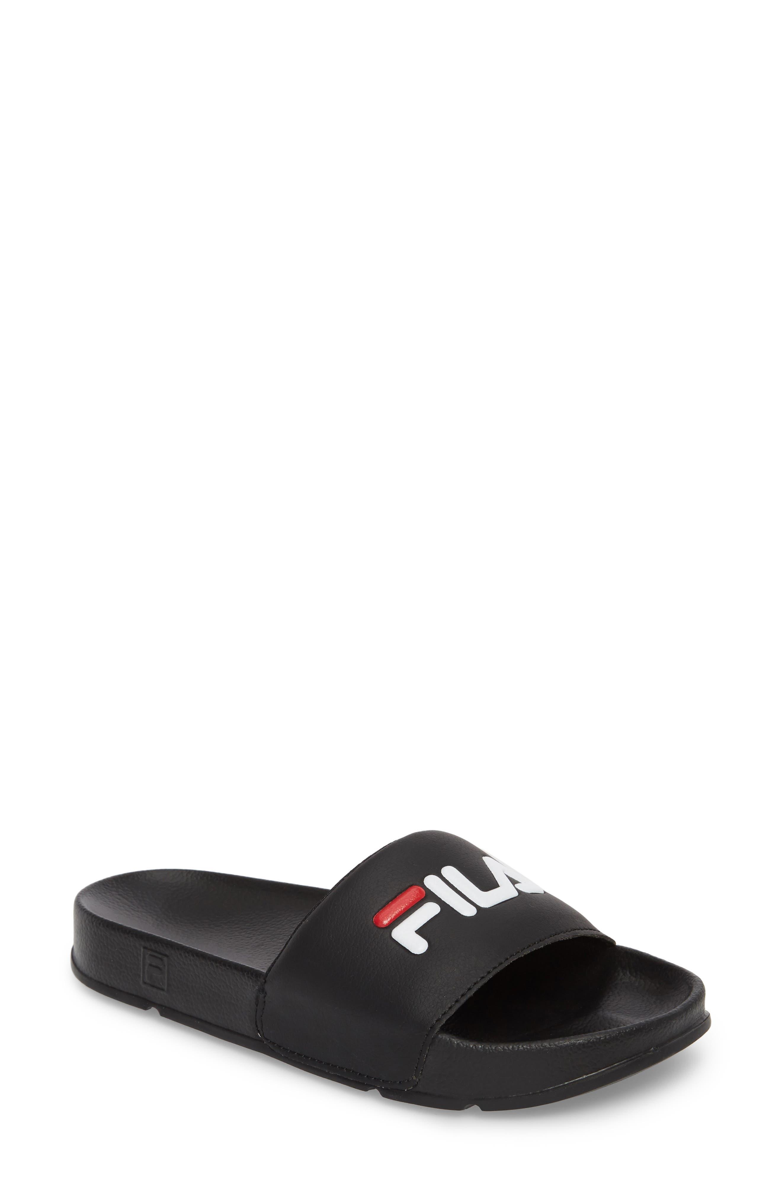 ,                             Slide Sandal,                             Main thumbnail 1, color,                             BLACK/ RED/ WHITE