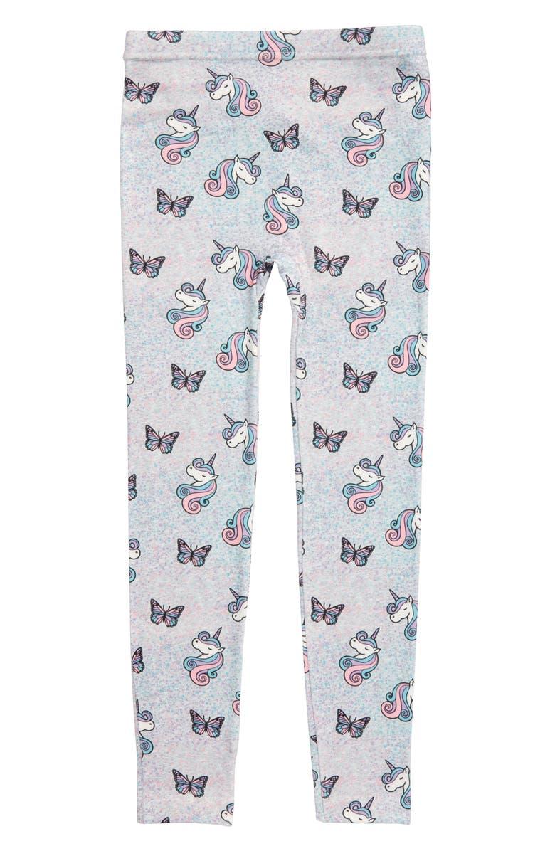 CAPELLI NEW YORK Butterfly Unicorn Fleece Lined Leggings, Main, color, 020