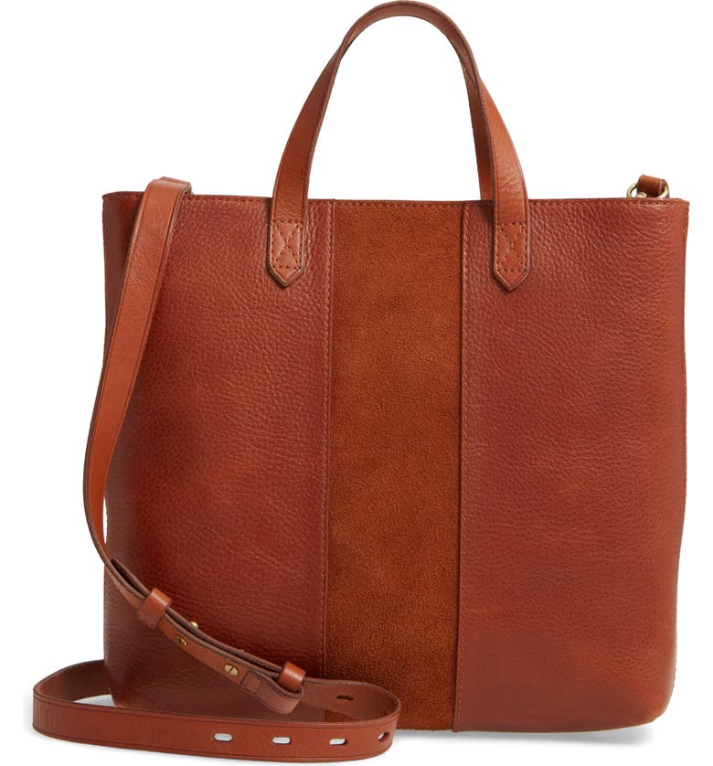 MADEWELL Small Transport Leather Crossbody Tote, Main, color, MAPLE SYRUP