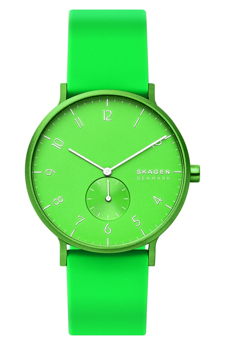 SKAGEN Aaren Kulør Rubber Strap Watch, 41mm, Main, color, NEON GREEN