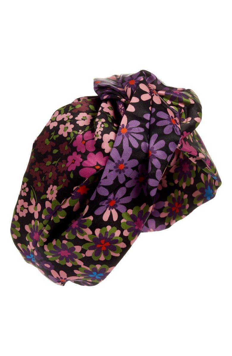 KATE SPADE NEW YORK pacific petals twisted silk headband, Main, color, 001