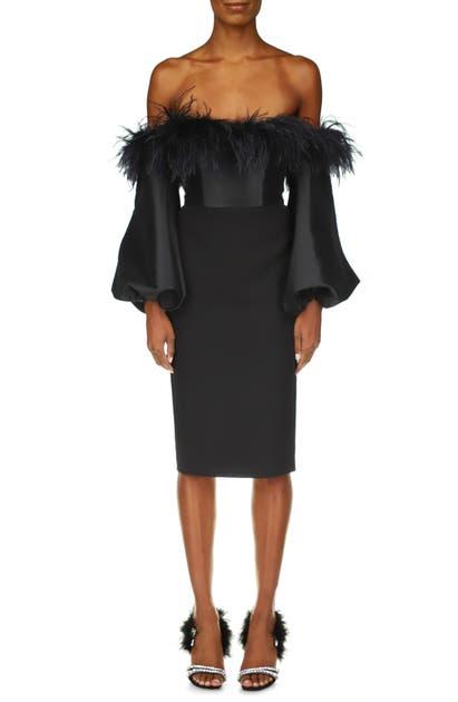 Badgley Mischka Dresses LONG SLEEVE FEATHER COCKTAIL DRESS