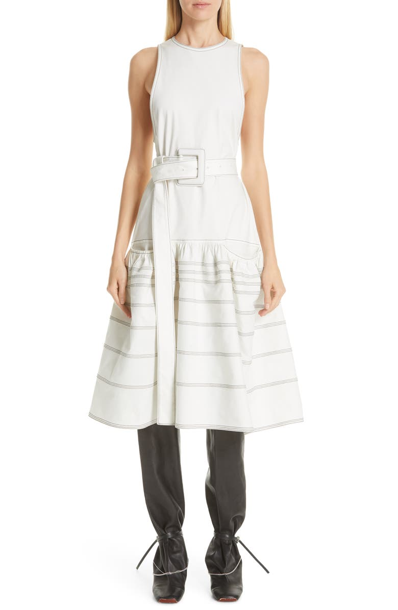 PROENZA SCHOULER Belted Drop Waist Dress, Main, color, 100