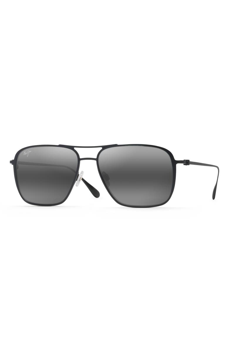 MAUI JIM Beaches PolarizedPlus<sup>®</sup>2 57mm Navigator Sunglasses, Main, color, MATTE BLACK