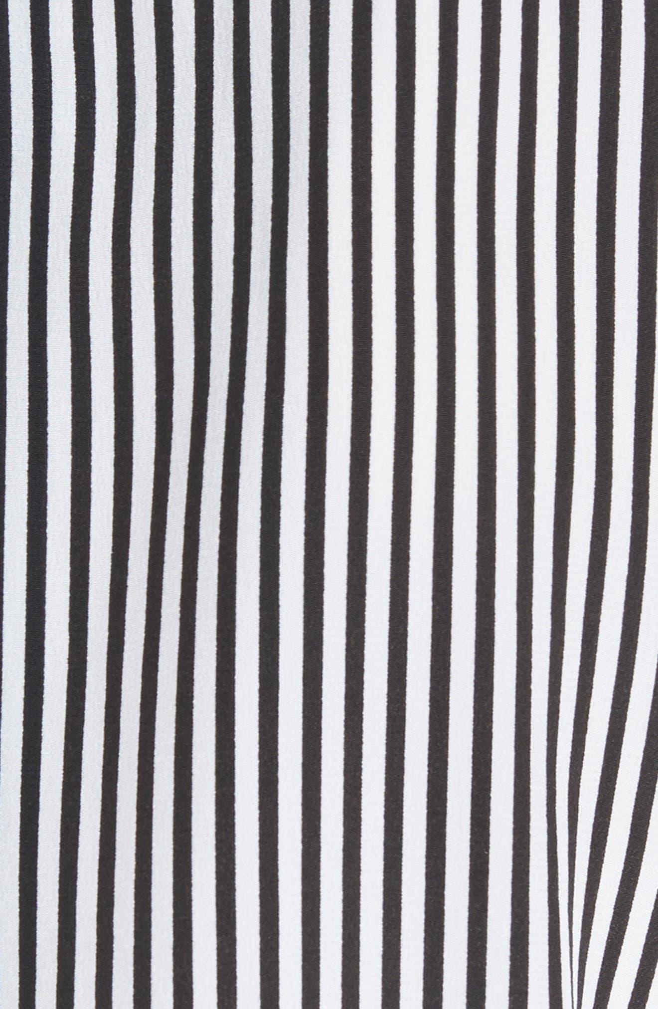 ,                             Essential Stripe Silk Shirt,                             Alternate thumbnail 5, color,                             BRIGHT WHITE - TRUE BLACK