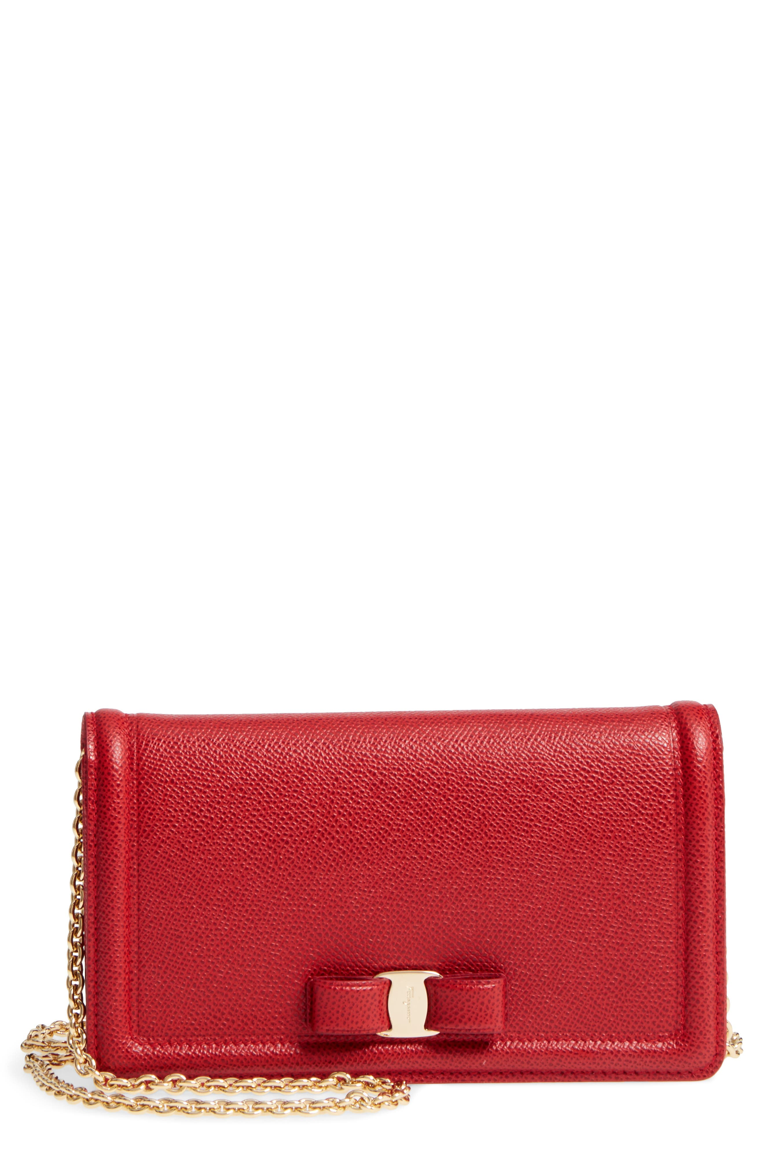 Salavatore Ferragamo Vara Leather Wallet on a Chain, Main, color, LIPSTICK