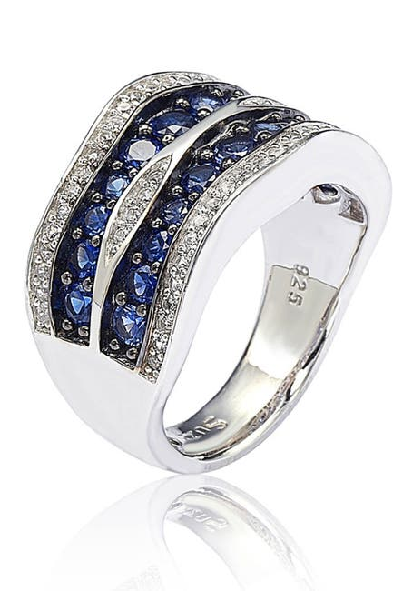 Image of Suzy Levian Sterling Silver Sapphire & Diamond Double Stripe Wave Ring - 0.02 ctw