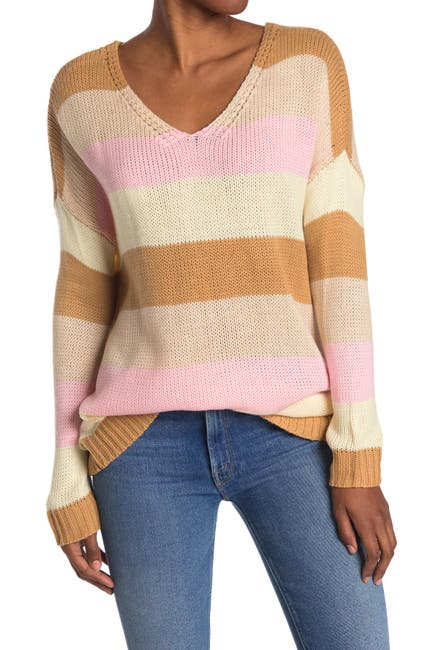 Image of Mustard Seed Multicolored Striped Dolman Sweater
