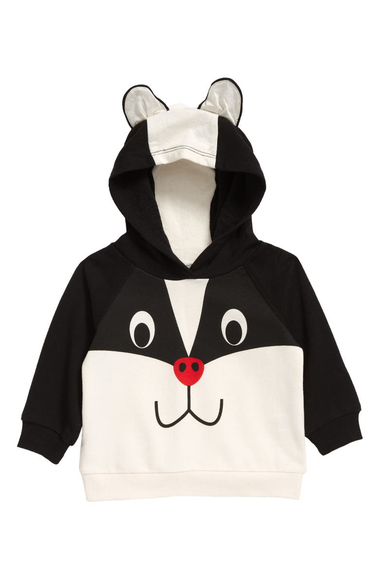 TUCKER + TATE Icon Critter Face Pullover Hoodie, Main, color, IVORY EGRET- BLACK SKUNK