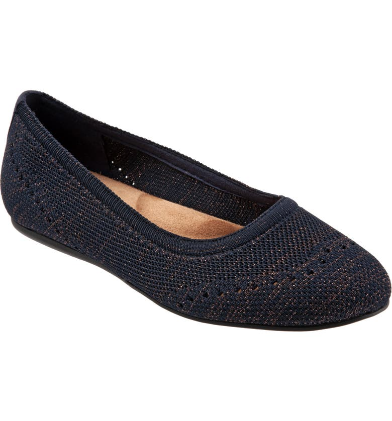SOFTWALK<SUP>®</SUP> Santorini Flat, Main, color, NAVY KNIT FABRIC