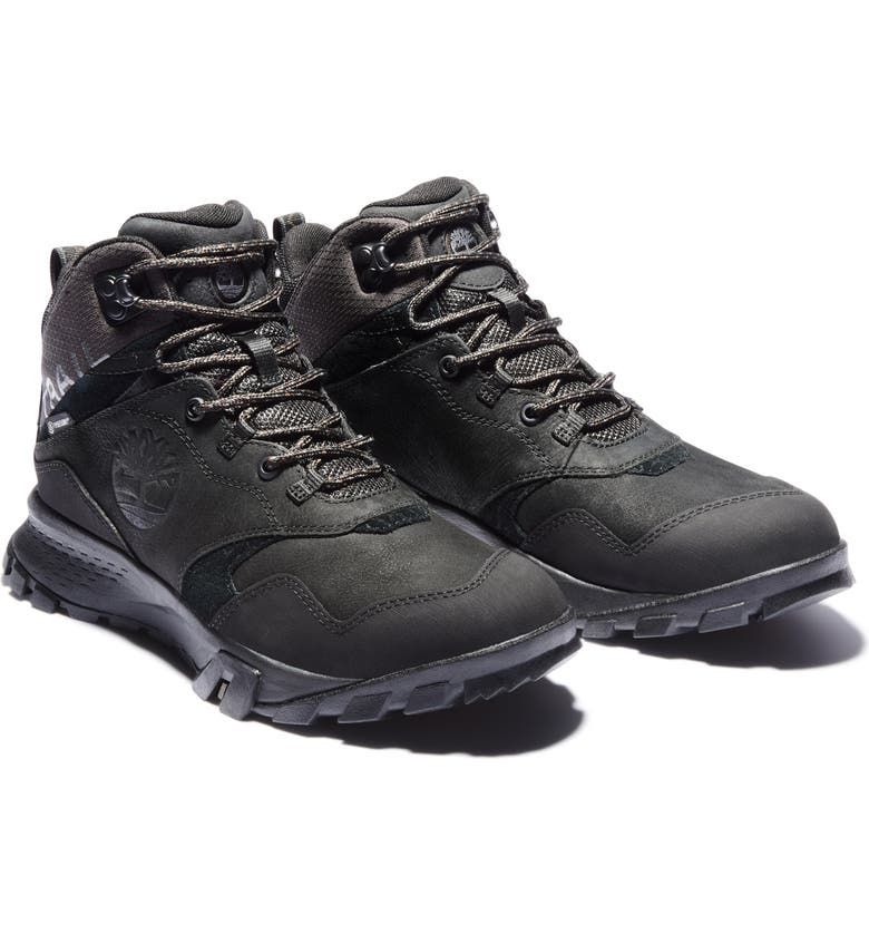 TIMBERLAND Garrison Trail Mid Waterproof Hiking Boot, Main, color, BLACK SUEDE