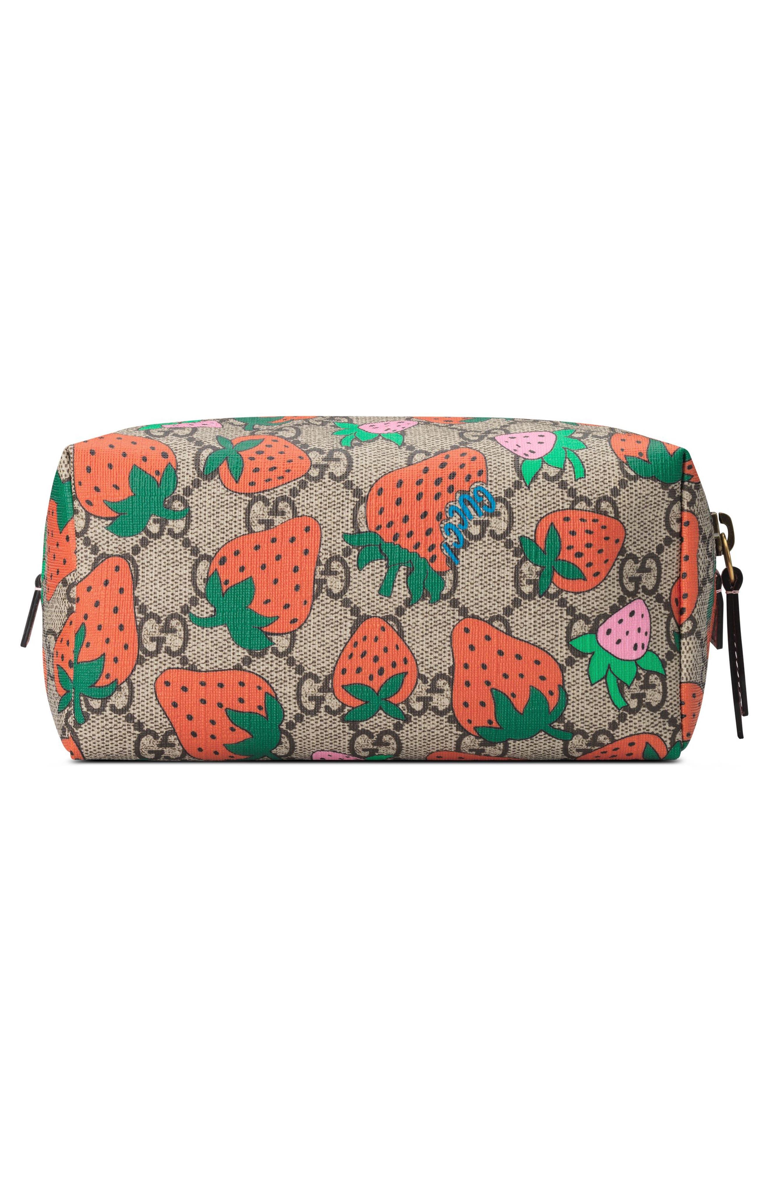,                             Strawberry Print GG Supreme Canvas Cosmetics Case,                             Alternate thumbnail 2, color,                             250