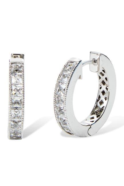 Image of Savvy Cie Sterling Silver Reversible Princess & Round Cut Crystal 12mm Huggie Hoop Earrings