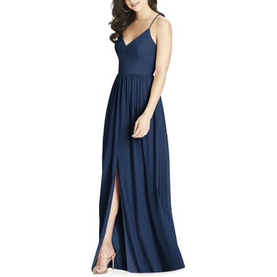 Dessy Collection Spaghetti Strap Chiffon Gown, Blue