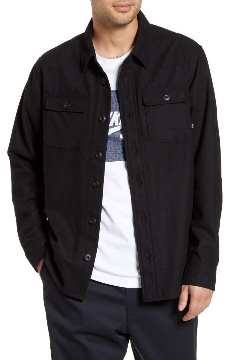 NIKE SB Button Down Shirt Jacket, Main, color, 010
