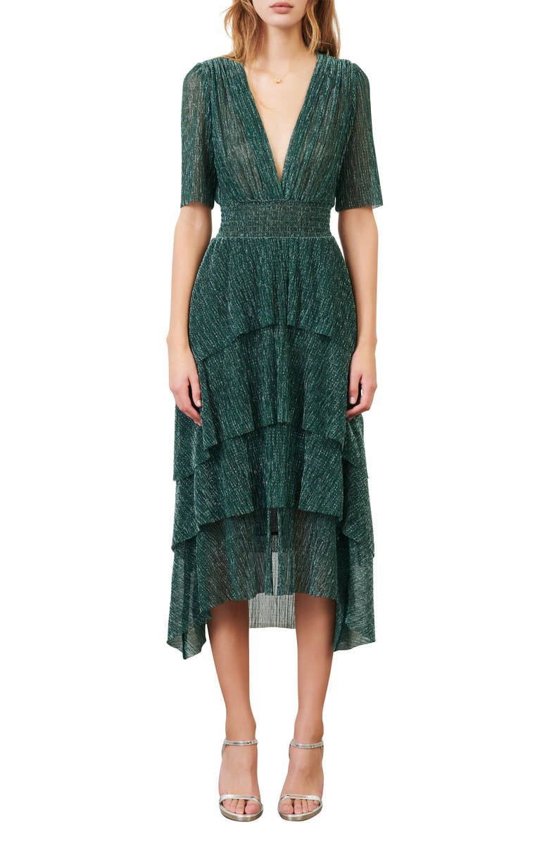 MAJE Metallic Thread Plunge Neck High/Low Dress, Main, color, GREEN