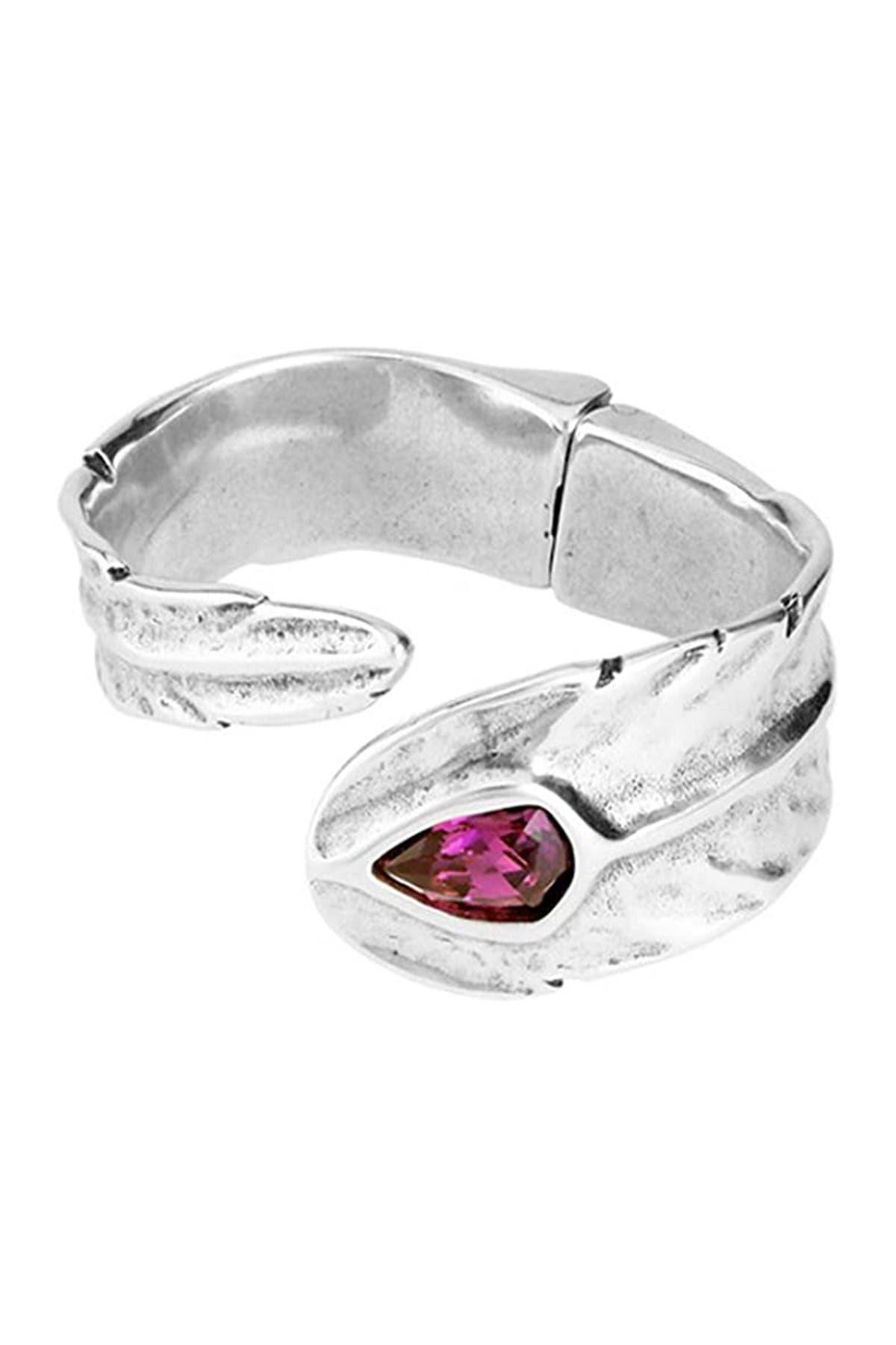 Image of Uno De 50 Mirame Swarovski Crystal Accented Hinged Cuff Bracelet