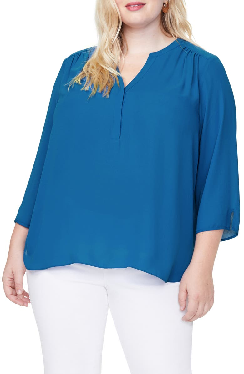 CURVES 360 BY NYDJ Perfect Blouse, Main, color, BLUE HARBOR
