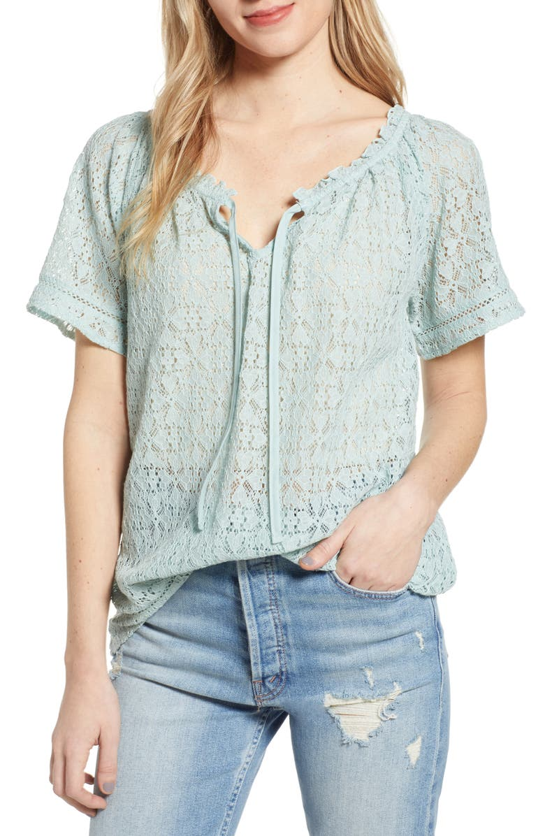 HINGE Lace Popover Blouse, Main, color, 450