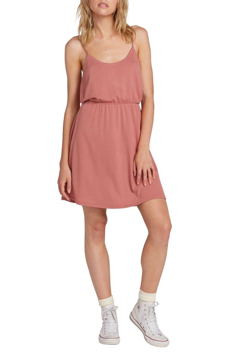 VOLCOM Le Fresh Cutout Minidress, Main, color, ROSEWOOD