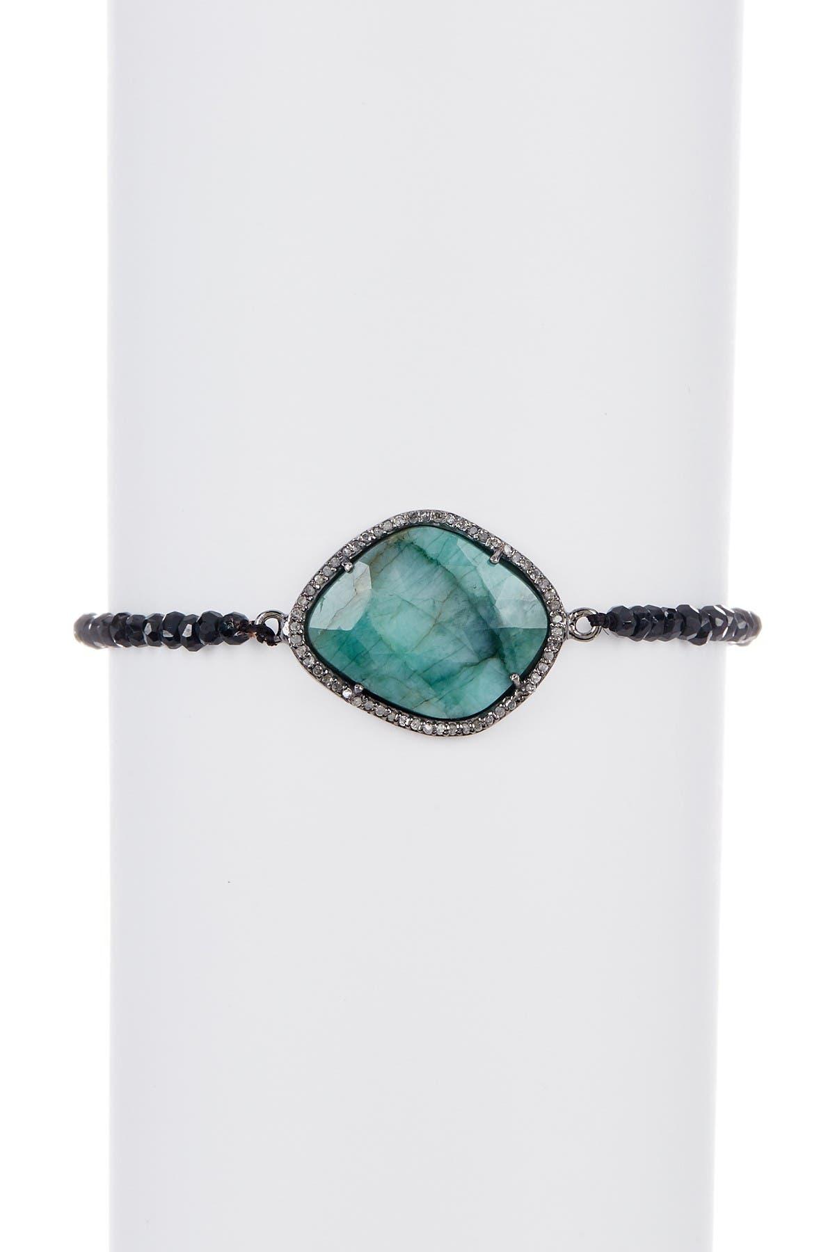 Image of ADORNIA Fine Sterling Silver Cayenne Champagne Diamond, Emerald, & Black Spinel Bracelet