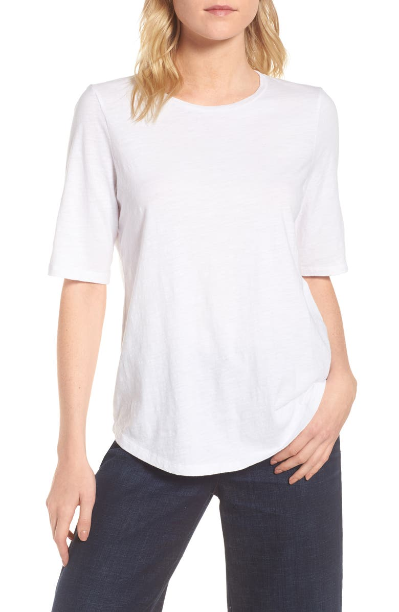 EILEEN FISHER Crewneck Tee, Main, color, WHITE