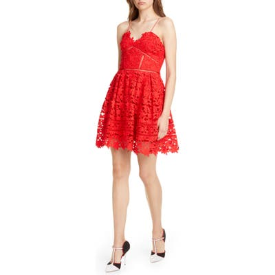 Self-Portrait Azalea Lace Fit & Flare Minidress