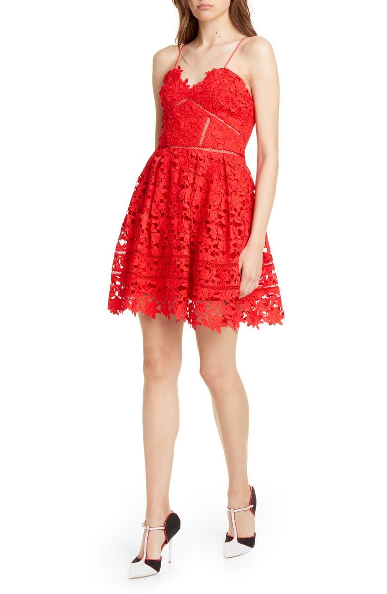 SELF-PORTRAIT Azalea Lace Fit & Flare Minidress, Main, color, RED