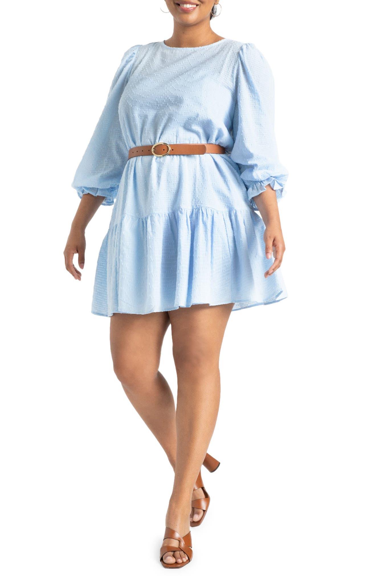 Long Sleeve Textured Cotton Dress