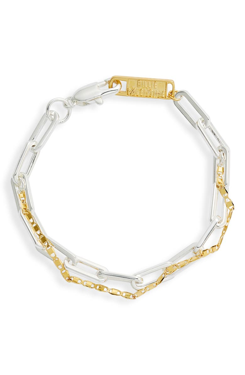 BILLIE VALENTINE Mio Two-Strand Mix Link Chain Bracelet, Main, color, GOLD