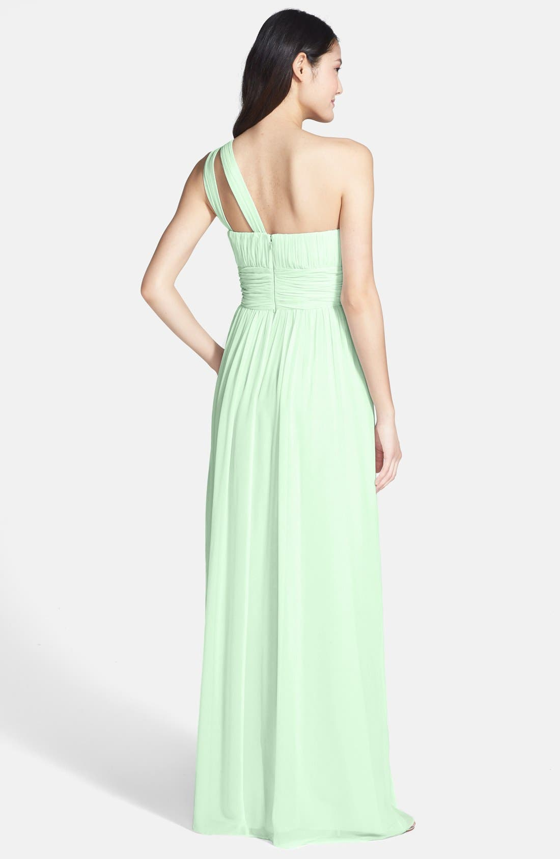 ,                             'Rachel' Ruched One-Shoulder Chiffon Gown,                             Alternate thumbnail 58, color,                             352