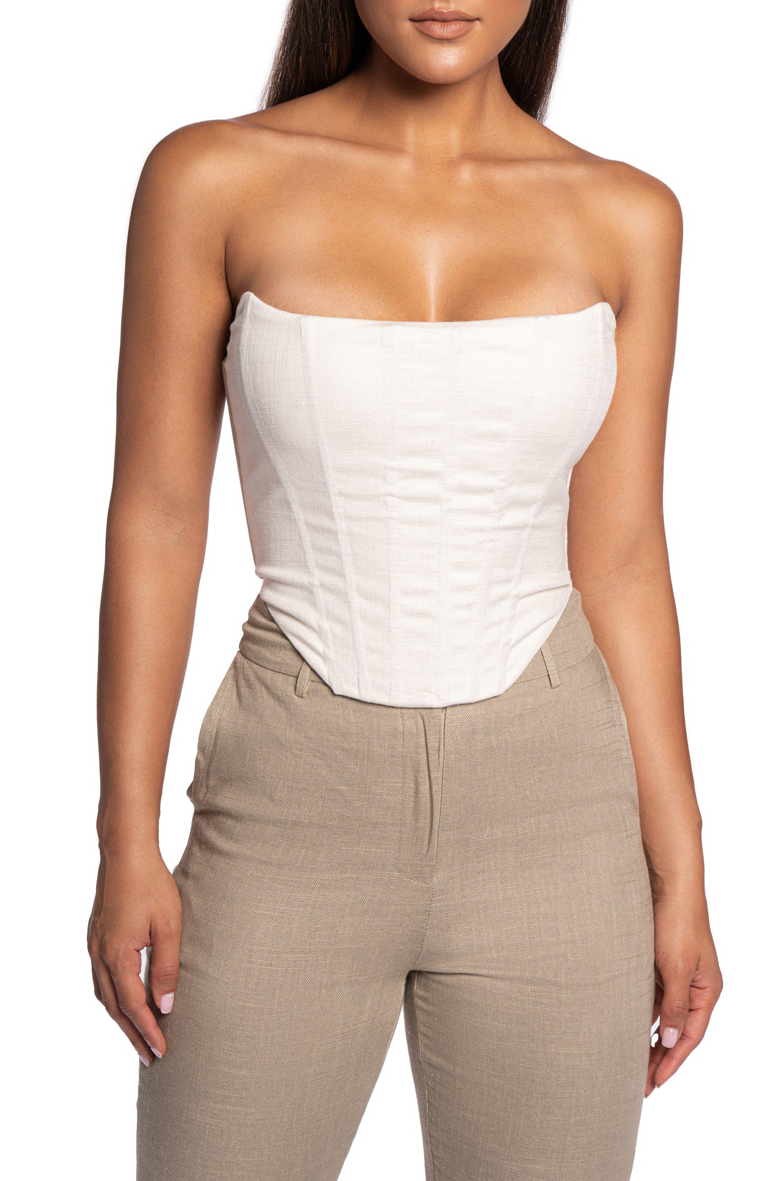 Strapless Cotton & Linen Corset Top