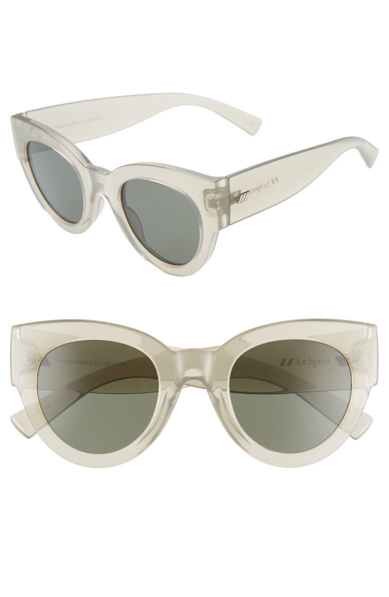 LE SPECS Matriarch 49mm Cat Eye Sunglasses, Main, color, TRANSPARENT MATCHA/ KHAKI