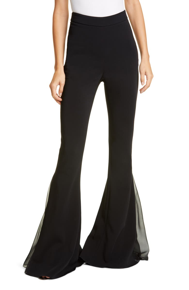 CUSHNIE Tulle Godet Flare Pants, Main, color, BLACK