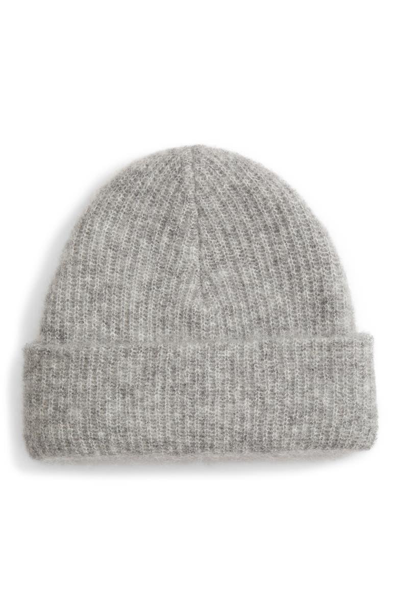 GANNI Soft Wool Blend Knit Beanie, Main, color, 020