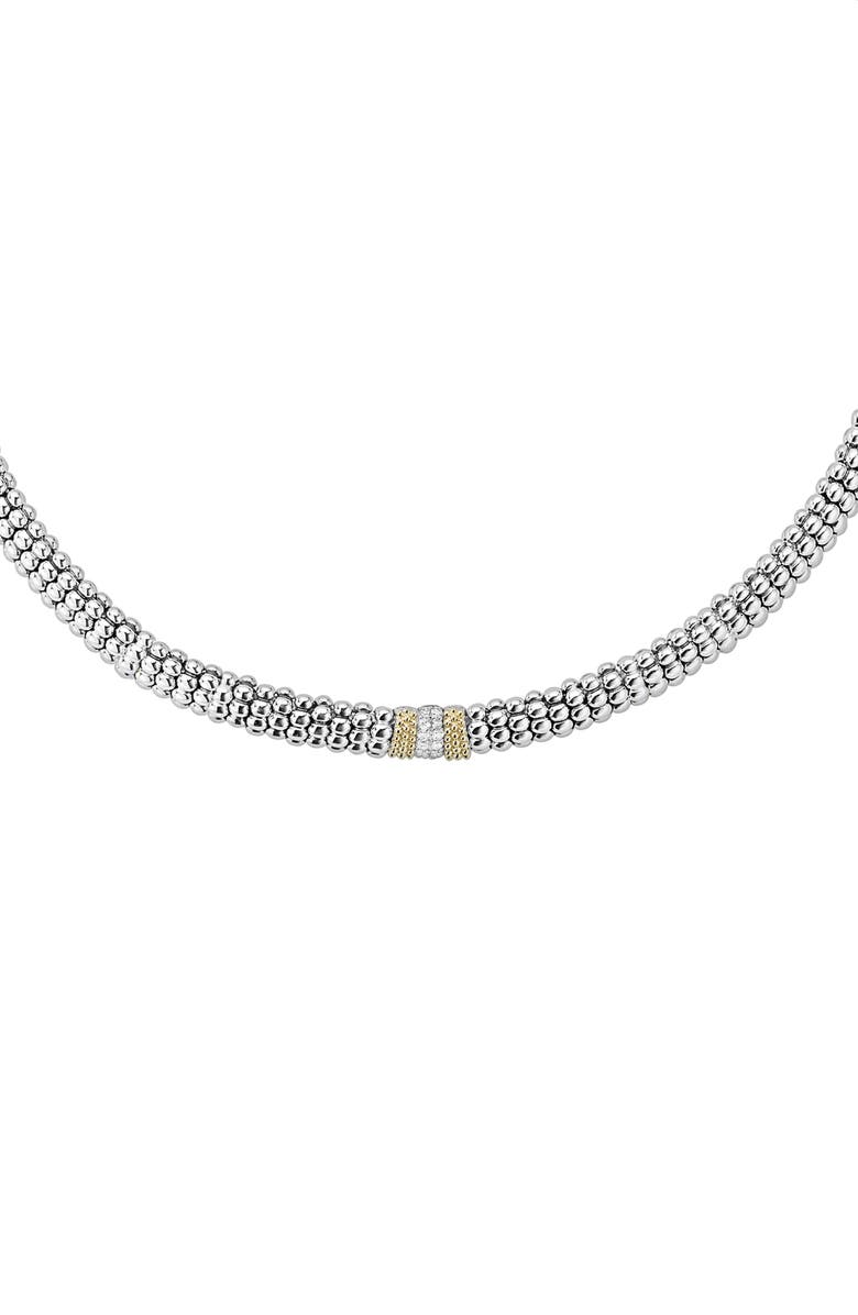 LAGOS Diamond Lux Station Collar Necklace, Main, color, SILVER/ DIAMOND