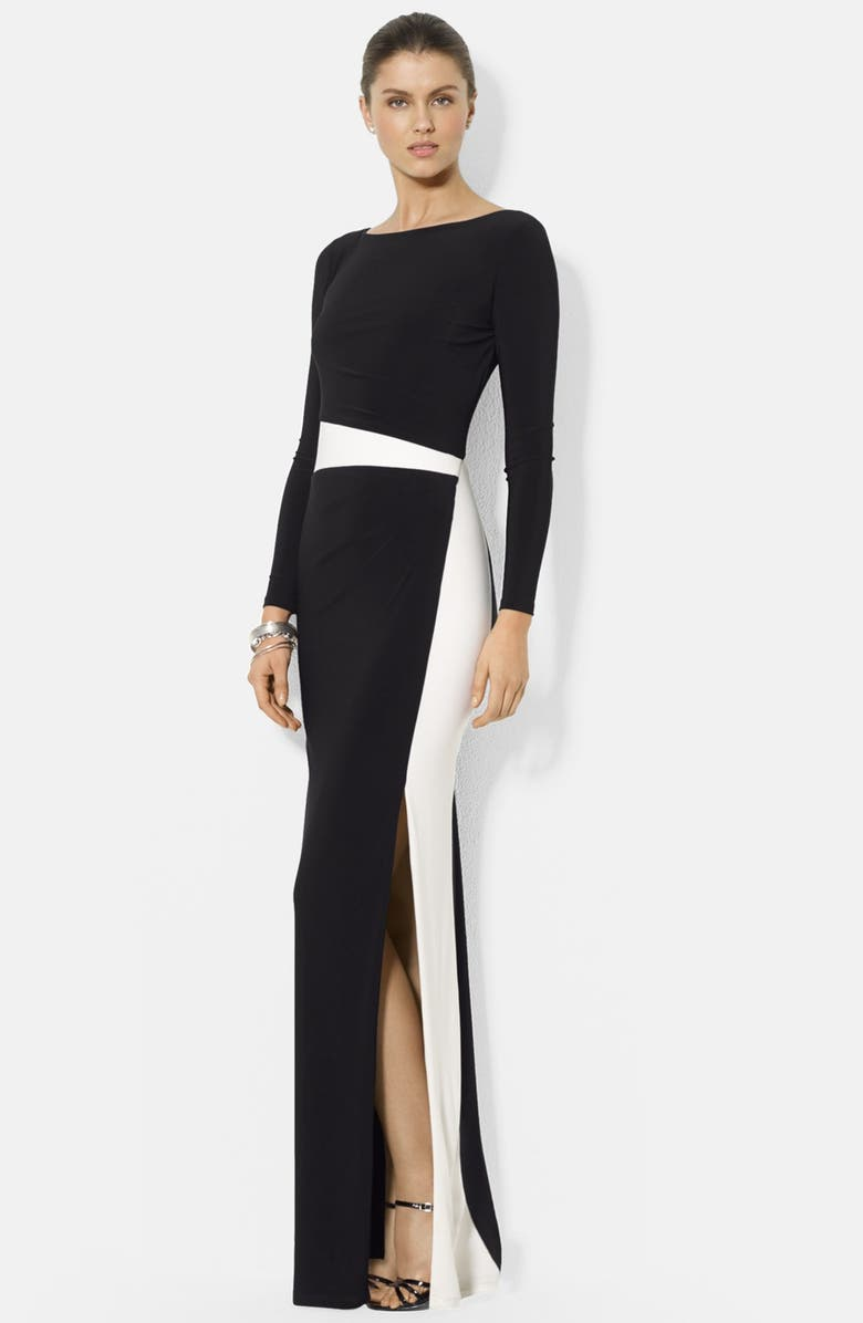 LAUREN RALPH LAUREN Two-Tone Long Sleeve Jersey Gown, Main, color, 015