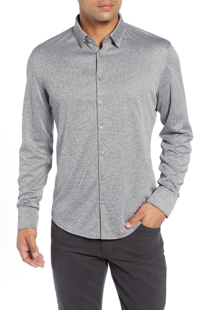 STONE ROSE Trim Fit Knit Sport Shirt, Main, color, BLACK