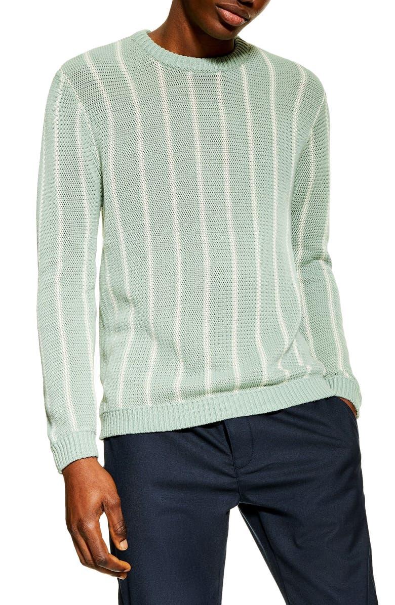 TOPMAN Chunky Stripe Sweater, Main, color, OLIVE