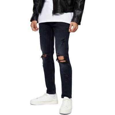 Topman Ripped Skinny Fit Jeans, Blue