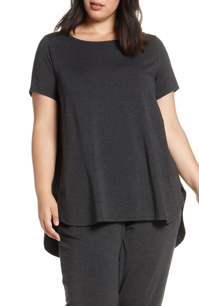 EILEEN FISHER Ballet Neck Short Sleeve Swing Top, Main, color, CHARCOAL
