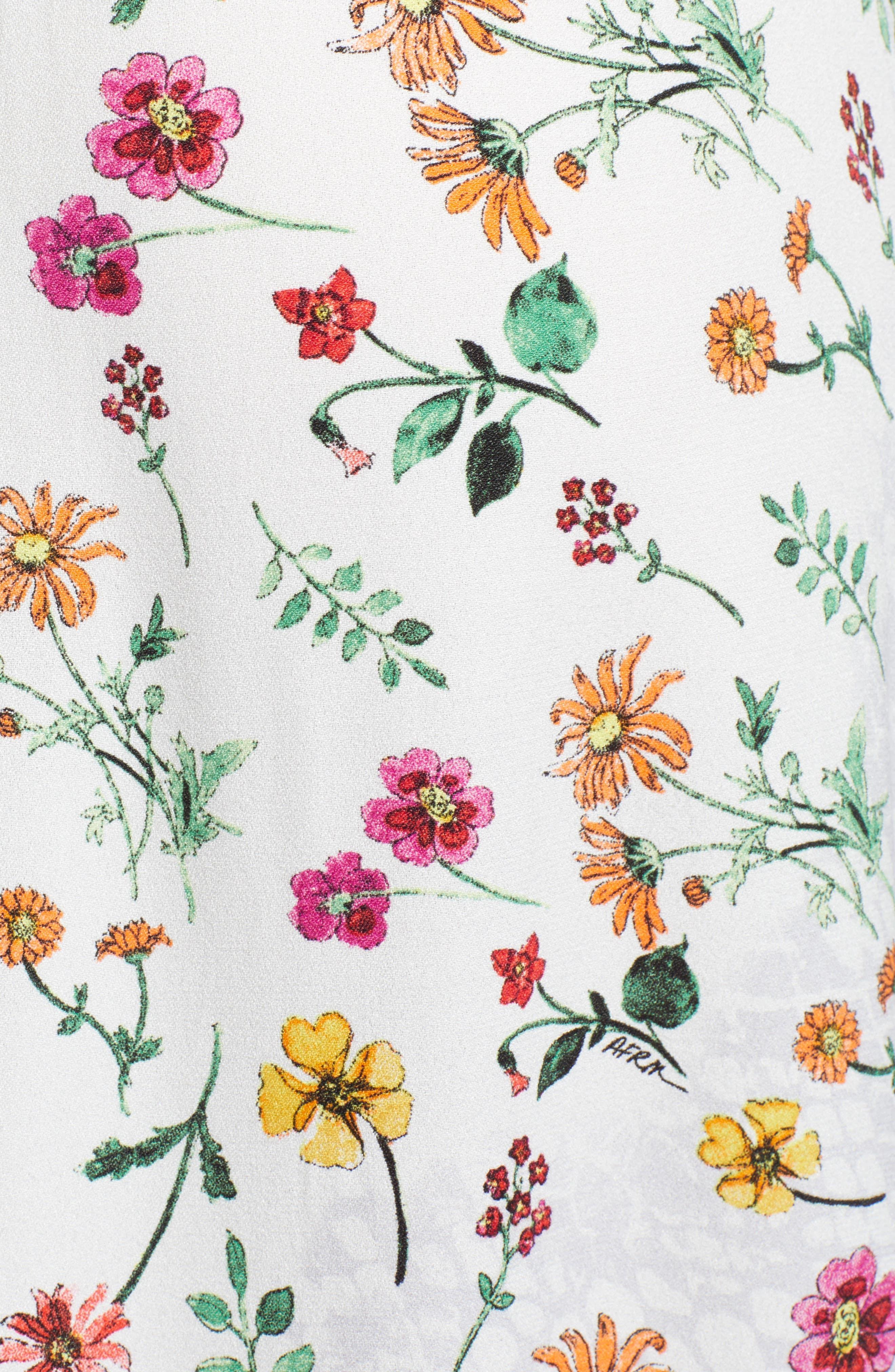 ,                             Carlo Cinched Front Midi Dress,                             Alternate thumbnail 6, color,                             PRINTEMPS FLORAL