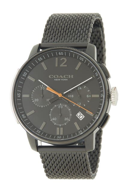 Image of Coach Men's Black Mesh Strap Watch, 36mm